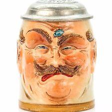 Steinzeugwerke Character Lidded Beer Stein - Mad Burger |  Antique Germany 1900s