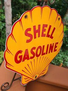 VINTAGE SHELL GASOLINE CLAM PORCELAIN ADVERTISING GAS PUMP PLATE SIGN OIL