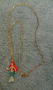 Vintage Disney Ariel The Little Mermaid Goldtone & Enamel Pendant Necklace