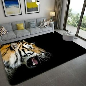 Nordic Black Tiger Carpet Decoration 3D Wild Animal Floor Mat Soft Bedroom Rug