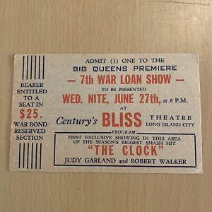 "1945 ADMISION TICKET ""THE CLOCK"" JUDY GARLAND & ROBERT WALKER BLISS THEATRE"