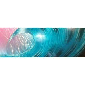 Modern abstract metal wall art, artwork. In the Wave. Teal, pink, black silver