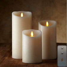 Luminara Flameless Pillar Ivory Candles Moving Wick LED Timer Remote Set of 3