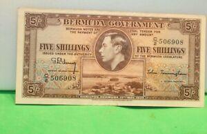 Bermuda 1937 5 Shillings Banknote XF+