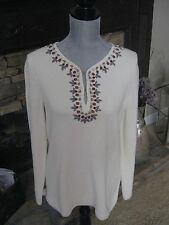 TORY BURCH EMBELLISHED JEWELED IVORY LONG TUNIC KNIT TOP SHIRT SIZE MEDIUM M NWT