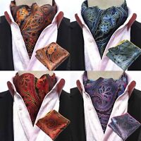 Men Classic Flower Paisley Cravat Ascot Necktie Matching Hanky Pocket Square Set