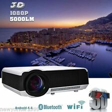 5000lm Android 4.4 WIFI Bluetooth 1080P LED 3D HDMI TV Home Theater Projector  A