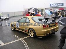 FRP FIBER GLASS TOP SECRET STYLE GT WING REAR SPOILER FOR NISSAN R34 GTR GTT