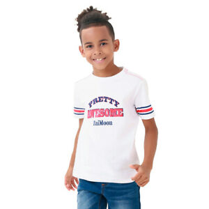TaiMoon Letter Printing Short Sleeve T-shirt Tops Absorb Sweat Summer Kids Boys