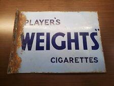Vintage Original Players Weights Cigarettes Flange Tobacco Porcelain Sign RARE!!
