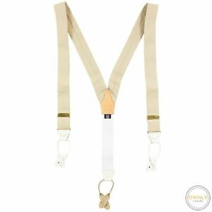 Turnbull & Asser Tan White Wool Mix Checked Gold-Tone Leather Trim Suspenders L