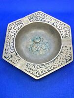 Vintage Brass Ashtray with Roses in Center made in Korea      (e)