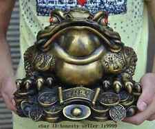"10"" chinese fengshui brass money coin ingot yuanbao golden toad bufo frog statue"