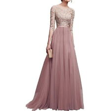Women Long Chiffon Lace Evening Formal Party Ball Gown Prom Bridesmaid Dress UK