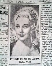 Actress THELMA TODD Hollywood Film Death SUICIDE ? Accident ? 1935 Old Newspaper