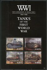 St Kitts 2014 MNH WWI WW1 100th First World War I 4v M/S Tanks Military Stamps