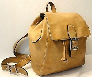 Coach 9569 Camel/Tan Genuine Leather Backpack Shoulder Bag Purse Tag Charm
