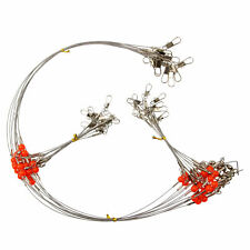 Fishing Steel Wire Rigs 2 Arms Wire Leader Guff Rigs With Swivels & Snaps Tackle