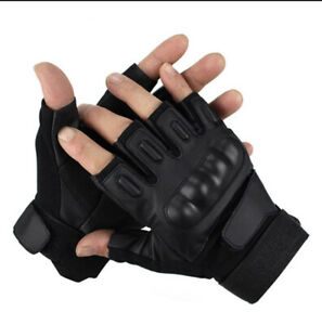 Tactical Gloves Military Rubber Hard Knuckle Gloves Fingerless/Half Size M