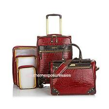"""Samantha Brown 5-piece Classic Luggage Set With 21"""", Dowel & 3 Packing Cubes Red"""