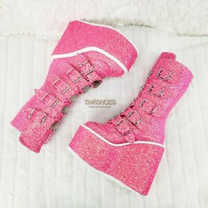 """Swing 230G Pink Glitter Boot 5.5"""" Platform Heart Strap Goth Boots 6 7 & 9  NY"""