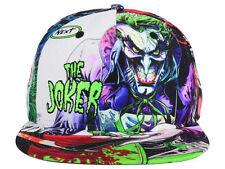 DC COMICS THE JOKER WHITE SUBLIMATED ALL OVER PRINT SNAPBACK HAT CAP LOGO BATMAN