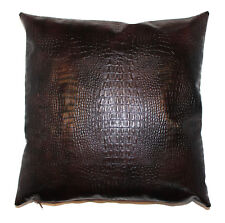 Alligator Throw Pillow Cover Faux Leather Wood Brown 18x18 in