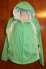 COLUMBIA Ladies' Medium ZIP-UP WINDBREAKER/JACKET (green w/ hood) perfect