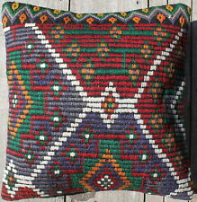 (45*45CM, 18 INCH) Boho handwoven kilim cushion cover full brocade green blue 1