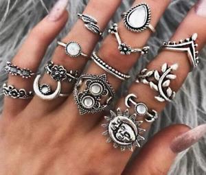 14 teilig Ringset Vintage Silber Sonne Mond Blatt Charm Ring Set für Frauen Geschenk