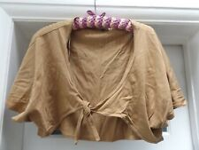 River Island Size 18 Ladies camel Bolero Cardigan Shrugs ¾ Sleeve COTTON