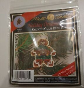 Gingerbread Boy Bead Ornament/Pin Kit Mill Hill 1994 Winter Holiday Vintage