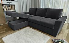 New Stanford L-Shape Corner Sofa Bed with Lift Up Storage in Charcoal Chenille