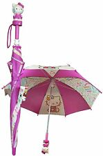 "New Sanrio Hello Kitty 24"" Kids Umbrella 3D Hello Kitty Figurine ""Colors"""
