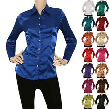 IRON PUPPY Satin Charmeuse Button Down Shirts Blouse(S~3XL)-US Seller