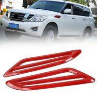 2PCS ABS Side Fender Air Vent Outlet Trim Cover For Nissan Patrol 2017+ Red T5