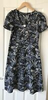 NEXT BLUE TAPESTRY FLORAL MIDI DRESS UK 10 LONG TALL NEW