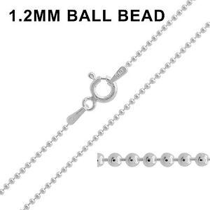 925 STERLING SILVER BEAD BALL CHAIN NECKLACE