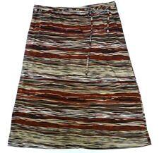 My Michelle Womens Medium Skirt Elastic Waist Tan Black Brick Red Animal Stripe