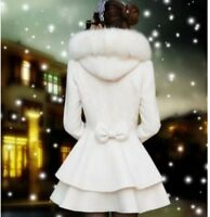 New Womens Fur Collar Slim Coats Sweet Double Breasted Wool Blend Warm Jackets