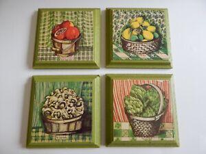 Vintage MCM Set of 4 Green Kitchen Wall Art Toni Marks Fruit Vegetables Mushroom