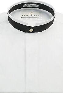 NWT. Men's Banded Collar Dress Shirt with Black Satin Trim. Size XS - 5XL.