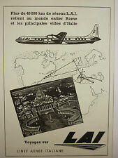 7/1957 PUB LAI LINEE AEREE ITALIANE ROME ROMA ITALIA AIRLINER ORIGINAL FRENCH AD