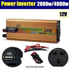 2000W / 4000W (Peak) Watt 12V DC-AC Power Inverter Car Caravan Boat USB Charge