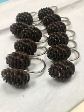 pine cones Shower Hooks Great For Cabin Decor 2 Cones Have Small Nicks