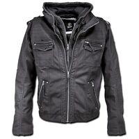 Brandit - Black Rock Hooded Schwarz Black Biker Vintage Jacke Hoody Winter hochw