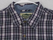 MOUNTAIN LAKE Vtg Blue Red Tartan Plaid L/S Button Shirt Men's Reg Large