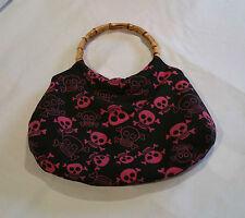 Bamboo Handle Pink Skulls Print Bag Rockabilly Pinup Vintage Style @ Emporium44