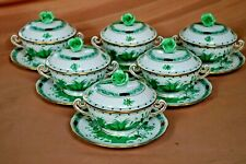 Herend handpainted 6 pcs lidded soup cups & saucers Indian basket green pattern