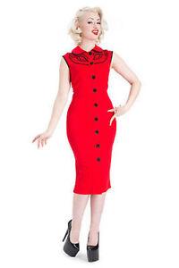 Voodoo Vixen Maggie Lou Classic Wavy Detail Button Up Pencil Red Dress S-Xl